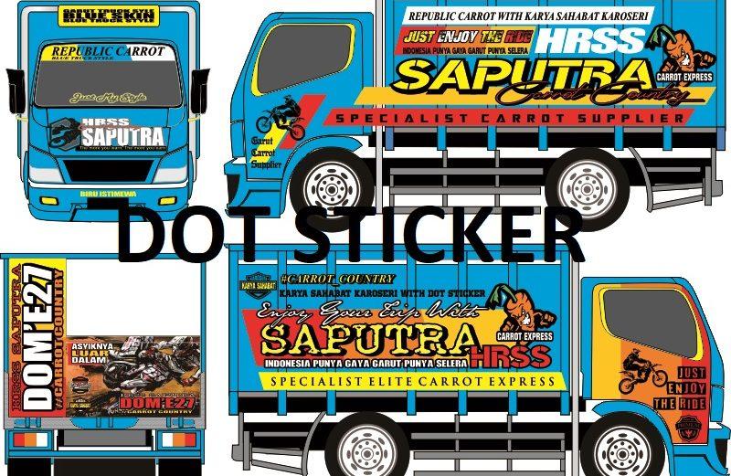 Cutting Sticker Truck Bak Engkel Biru Keren