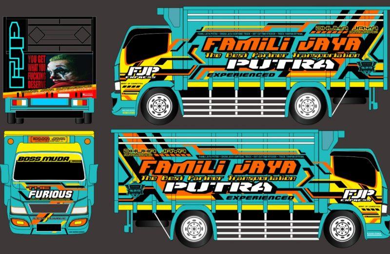 Desain Cutting Sticker Truck Canter Hijau Tosca Kombinasi Kuning