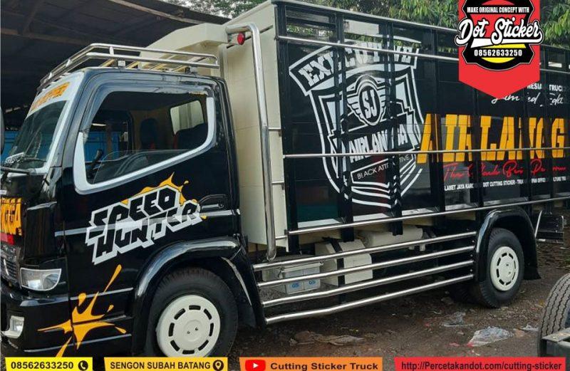 Cutting sticker truck canter warna hitam terbaru variasi stainless airlangga trans