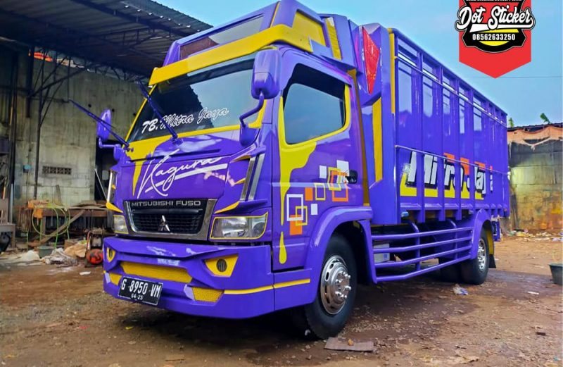 cutting sticker truck canter ungu simple elegan