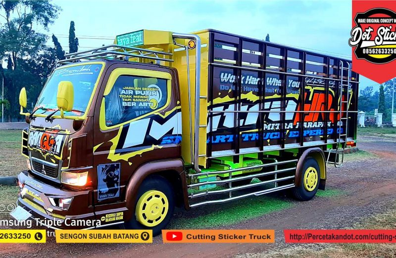 modifikasi cutting sticker truck canter coklat by dot sticker feat putra ragil karoseri