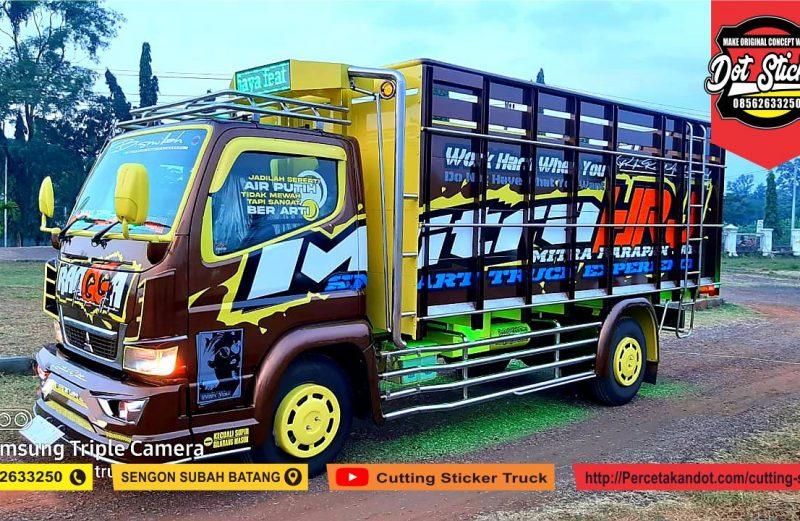 modifikasi cutting sticker truck canter coklat by dot sticker feat putra ragil karoseri
