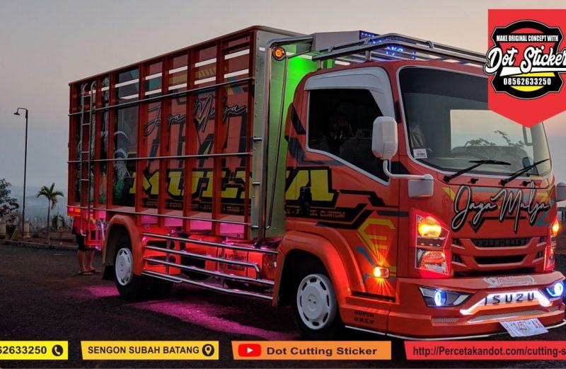 cutting sticker truck elf giga orange dot sticker feat putra ragil