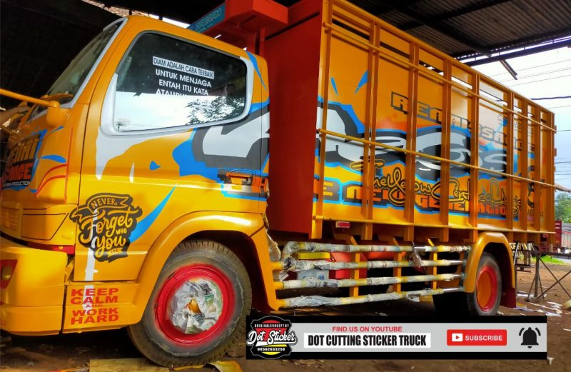 Desain cutting sticker truck canter warna orange by dot cutting sticker truck
