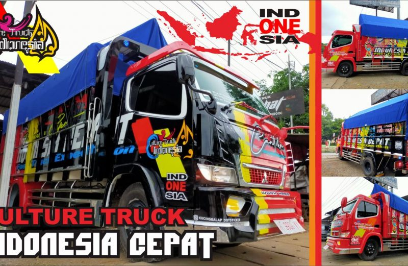 cutting sticker truck canter kombinasi merah hitam indonesia cepat by dot sticker