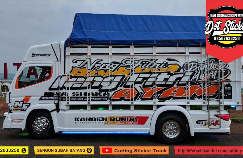 cutting sticker truck canter pink putih aries poetra karoseri feat dot cutting sticker truck