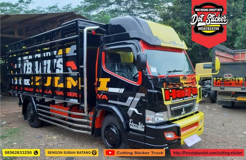 Cutting sticker truck canter kuning hitam terbaru variasi stainless dot sticker truck