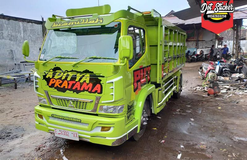 cutting sticker dump truck canter hijau variasi stainless by dot sticker