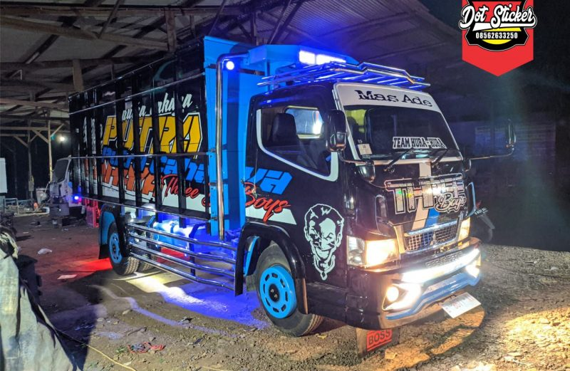 Modifikasi cutting sticker truck canter terbaru hitam kombinasi biru konsep dot sticker