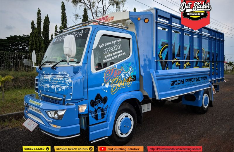 cutting sticker truck canter biru elegan jasa sepuh by dot sticker