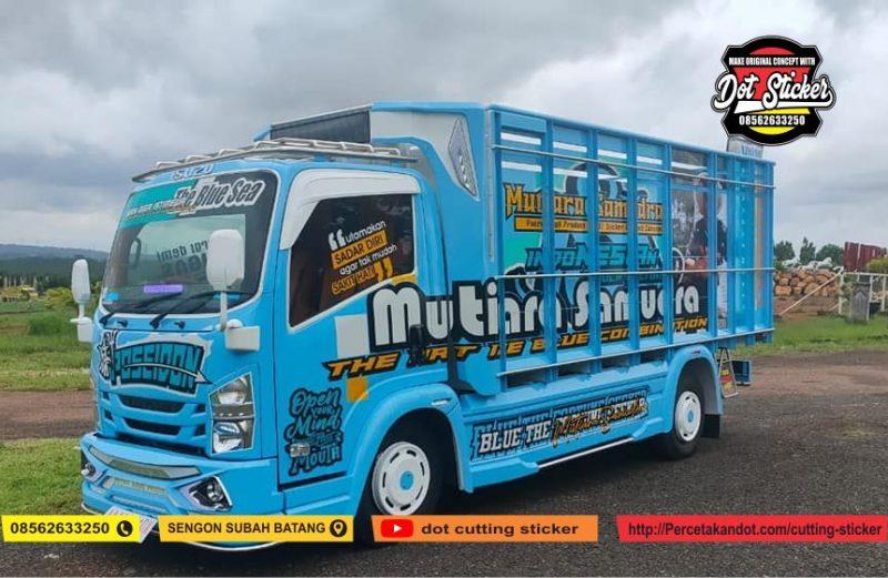 desain cutting sticker truck elf biru langit di putra ragil karoseri
