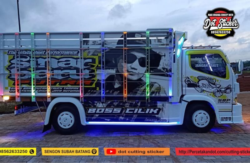 cutting sticker truck canter putih sinar baru di dhuha jaya bak truck